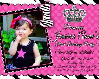 CUSTOM PHOTO Invitations Zebra Princess Birthday Invitation - You Print - PRINTABLE - I Customize You Print - 4x6 or 5x7