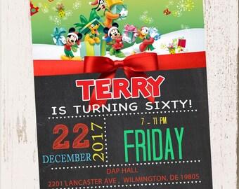 CUSTOM PHOTO Invitations Mickey Mouse Clubhouse Christmas Birthday Invitation - You Print - PRINTABLE - I Customize You Print - 4x6 or 5x7