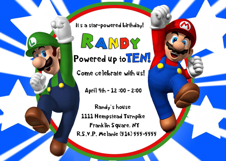 MARIO & LUIGI INVITATION Super Mario Bros Invite Birthday | Etsy
