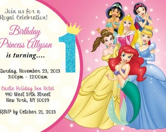 CUSTOM PHOTO Invitations Disney Princesses Birthday Invitation You 5x7 or 4x6 Card - PRINTABLE I Customize You Print