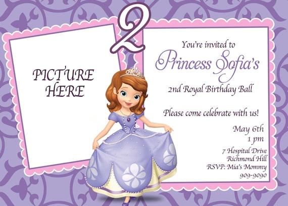 Custom photo invitations sofia the first birthday invitation etsy image 0 filmwisefo