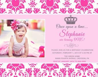 CUSTOM PHOTO Invitations Pink Damask Princess Girls Birthday Invitation You 5x7 or 4x6 Card - PRINTABLE I Customize You Print