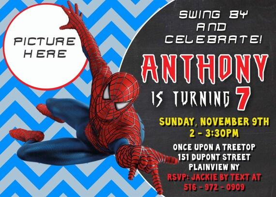CUSTOM PHOTO Invitations Spiderman Birthday Invitation You