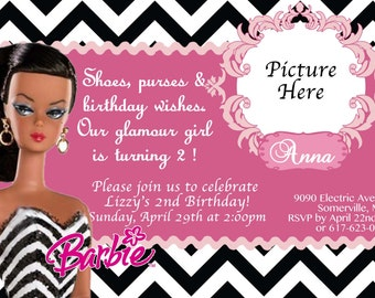 CUSTOM PHOTO Invitations Chevron Barbie Birthday Invitation - You Print - PRINTABLE - I Customize You Print - 4x6 or 5x7