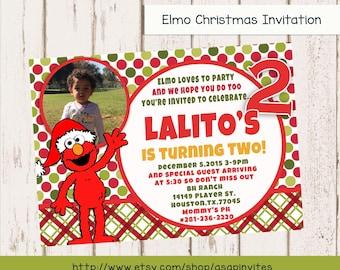 CUSTOM PHOTO Invitations Elmo Christmas - Sesame Street Birthday Invitation - You Print - PRINTABLE - I Customize You Print - 4x6 or 5x7