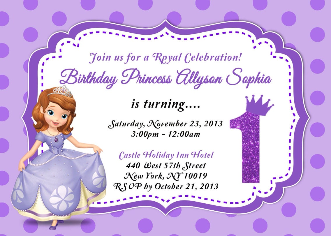 CUSTOM PHOTO Invitations Sofia The First Birthday Invitation | Etsy