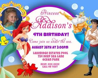 CUSTOM PHOTO Invitations Ariel The Little Mermiad Birthday Invitation - You Print - PRINTABLE - I Customize You Print - 4x6 or 5x7