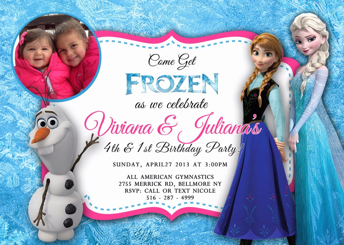CUSTOM PHOTO Invitations Frozen Birthday Invitation You | Etsy