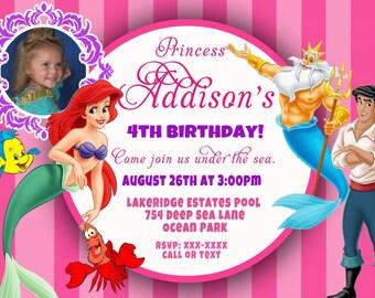 CUSTOM PHOTO Invitations Disney Princess Thank You You