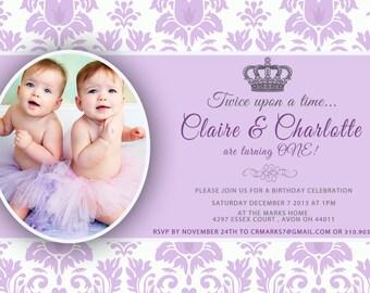 CUSTOM PHOTO Invitations Purple Damask PrincessBirthday Invitation You 5x7 Card - PRINTABLE I Customize You Print