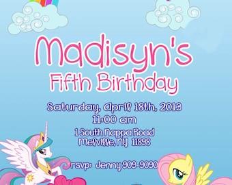 CUSTOM PHOTO Invitations My Little Pony Birthday Invitation - You Print - PRINTABLE - I Customize You Print - 4x6 or 5x7