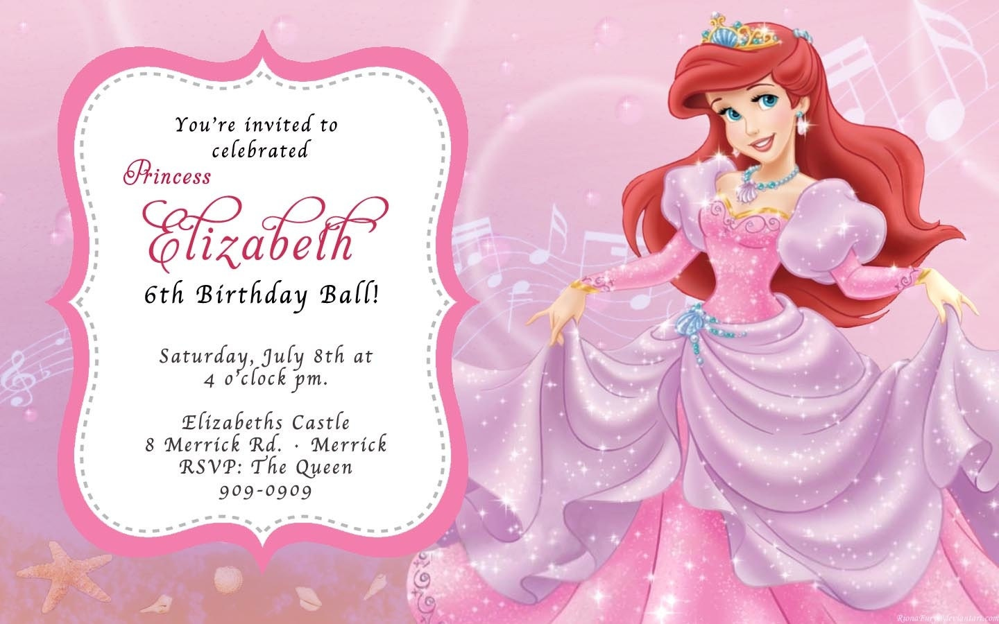 CUSTOM PHOTO Invitations The Little Mermaid Ariel Birthday