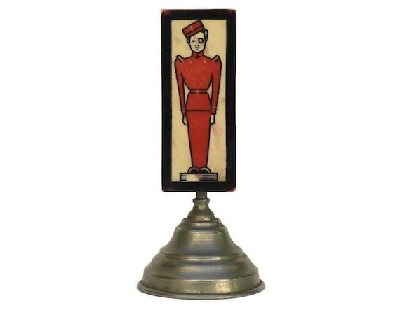 Art Deco Bakelite Belt Buckle with Bellhop. French Hotel Porter Sign. Front Desk & Reception Decor.