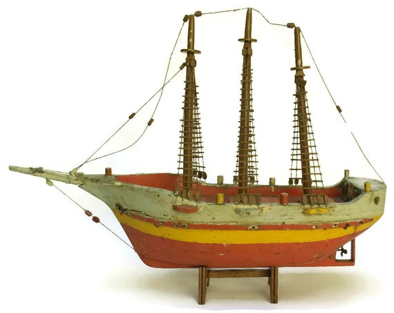 Antique French Wood Ship Model, Pond Boat, Nautical and Coastal Home Decor