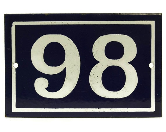 French House Door Address Number 98. French Blue and White Enamel House Number. Door Plate Sign.