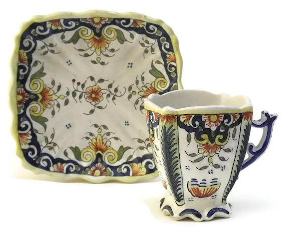 French Faience Cup & Saucer Set. Rouen Pottery Hand Painted Blue and White Demitasse Set. Coffee Lover Gifts.