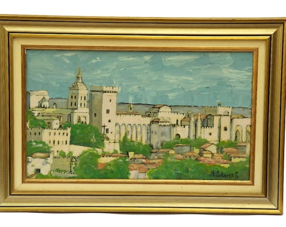 Vintage Avignon Pope's Palace Painting, French Framed Oil Painting, Church Painting in Frame, Architecture Art