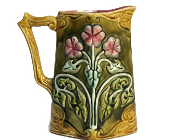 Frie Onnaing Majolica Pitcher. Ceramic Art Nouveau Geranium Flower Water Jug. French Country Home Decor.