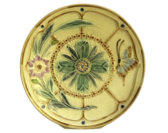 Antique Majolica Butterfly and Flower Plate.