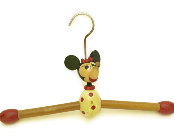 Vintage Minnie Mouse Wooden Clothes Hanger. Disney Collectible. Kids Room Decor and Gifts For Girls.