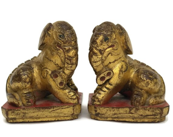 Antique Chinese Gilt Wood Elephant Figurines.