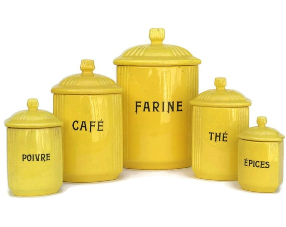 Vintage French Yellow Kitchen Canister Set.
