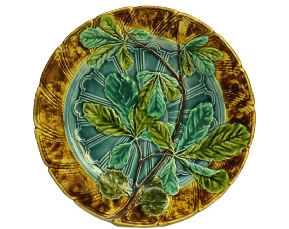 Green Majolica Leaf Plate by Sarreguemines. Antique Green & Yellow Ceramic Wall Plate.