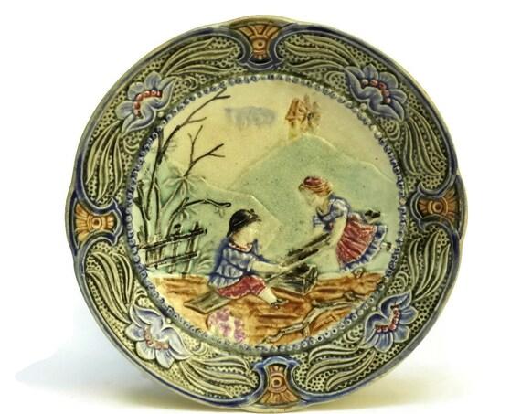 Antique Wasmuel Majolica Plate.