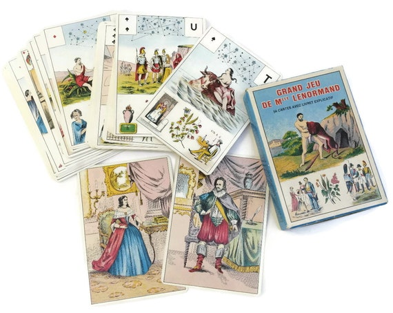 Vintage French Lenormand Prophecy Deck. Fortune Telling Cartomancy Cards. Grand Jeu de Mlle Lenormand by B.P Grimaud. Astro Mythological.
