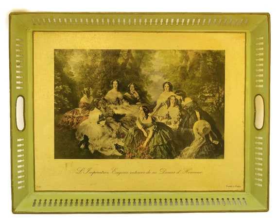 Vintage French Tole Serving Tray, Empress Eugenie Print, Romantic Style Home Decor, Gifts for Her