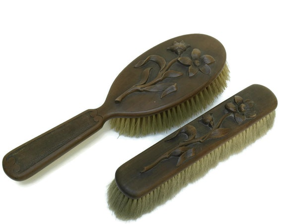Antique Black Forest Wooden Brush Set. Hand Carved Wood Hair & Shoe Brushes. Bathroom and Vanity Decor.