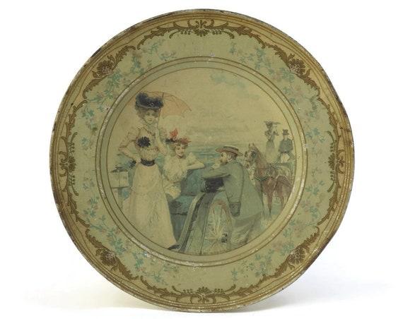 Victorian Seaside Scene Plate.