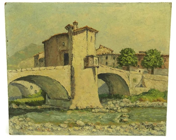 Vintage Bridge and River Painting
