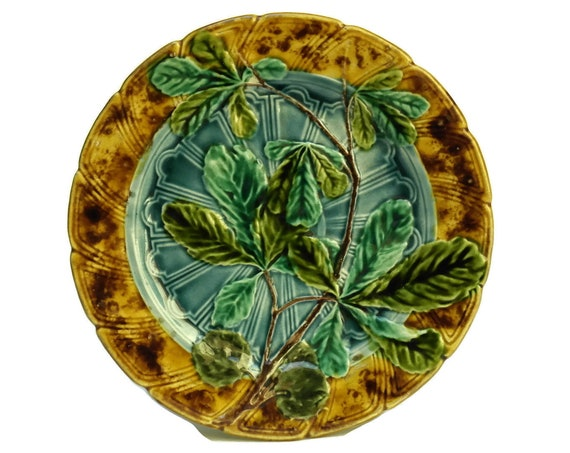 Antique Majolica Leaf Plate by Sarreguemines. Green & Yellow Ceramic Wall Plate.