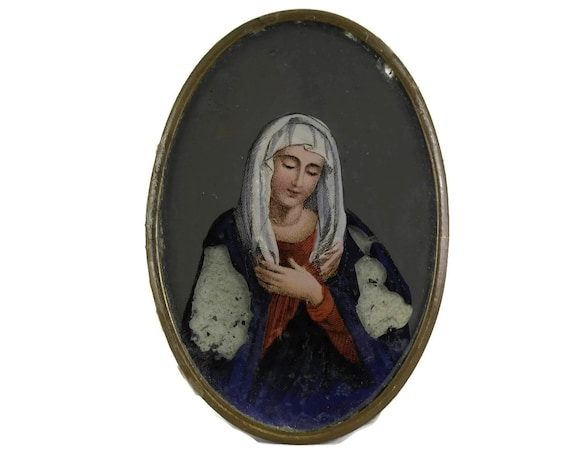 Antique Virgin Mary Portrait Art.