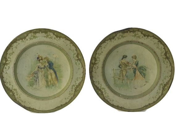 Antique French Litho Tin Wall Plates, Pair of Romantic Courtship Scene Plates, Shabby Home Decor