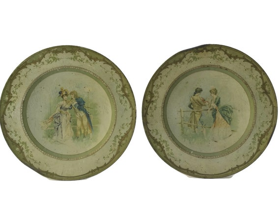 Pair Antique Courtship Scene Plates.