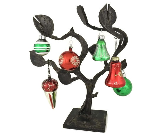 Vintage Green and Red Christmas Tree Decorations.