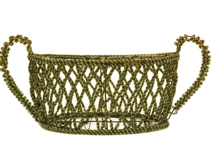 French Antique Beaded Flower Basket. Shabby Home Decor. Beadwork Funeral & Mourning Display.