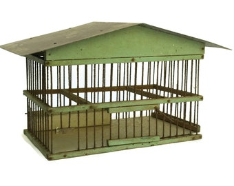 Rustic Birdcage. Antique French Architectural Bird Cage. Country Home and Garden Decor & Gifts.