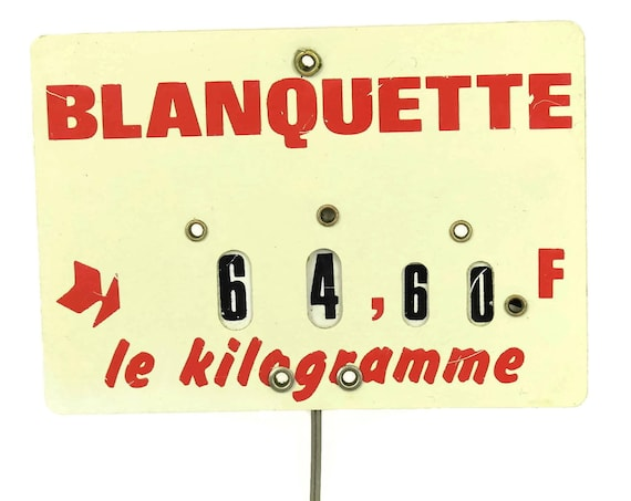 French Butchers Price Ticket Label, Vintage Store Display Sign, Country Kitchen Decor, Deli Meat Lover & Foodie Gift