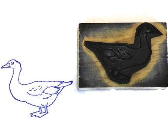 Tampon bois Block Print l'OIE. Les enfants Art & Craft impression cadeau. Animal d'exploitation Français. Décor de chambre d'enfant vintage.