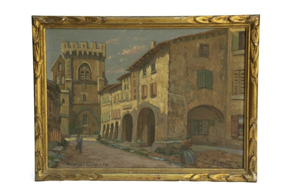 Framed French Street Scene Painting.