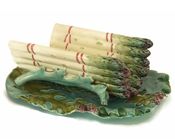Antique Majolica Asparagus Server Platter, French Ceramic Asparagus Cradle and Drainer, Country Kitchen & Table Decor