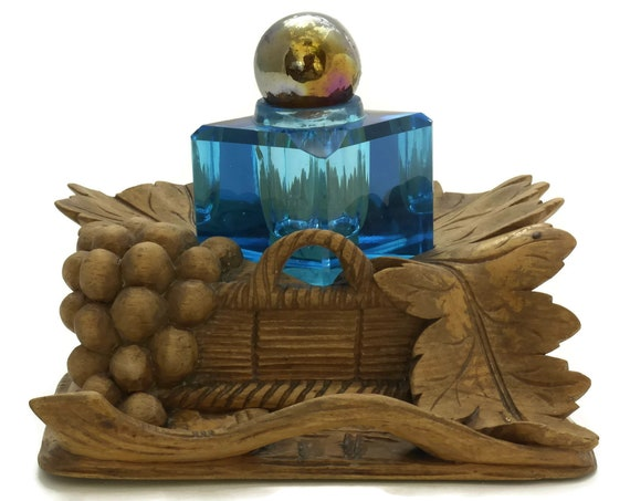 Antique Black Forest Wood Carving Inkwell with Cobalt Blue Crystal Ink Pot