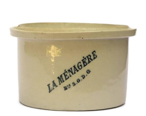 Antique French Stoneware Confit Pot. Conserve Pot Crock La Ménagère. Rustic Stoneware Utensil Holder.