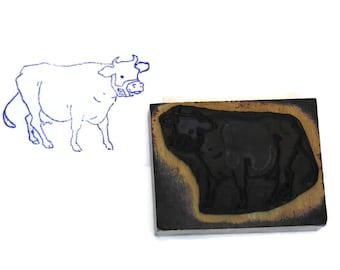 Cow Rubber Stamp Wood Print Block.