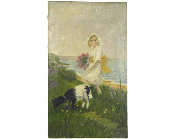Girl in White Dress Portrait Painting with Goat at The Sea.