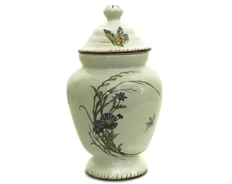 Ginger Jar with Butterflies and Flowers, Antique French Ceramic Bathroom Storage Canister
