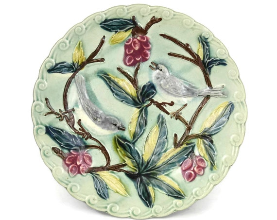 French Antique Majolica Bird Wall Plate
